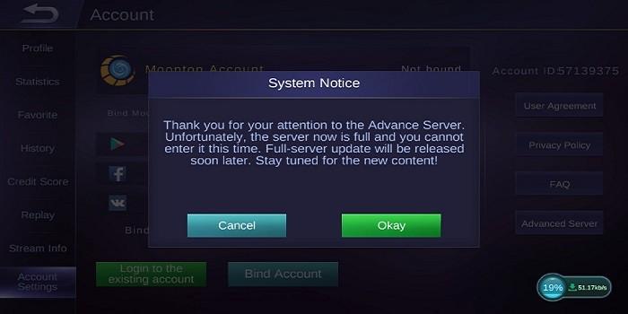 Cara Masuk Advanced Server di Mobile Legends - Server Penuh