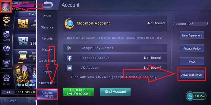 Cara Masuk Advanced Server di Mobile Legends