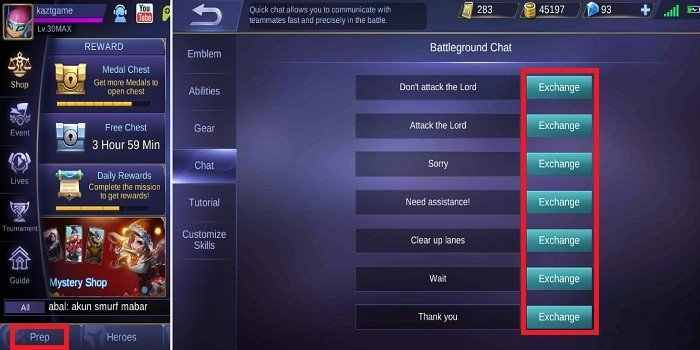 Cara Mengubah Chat Pertempuran di Mobile Legends