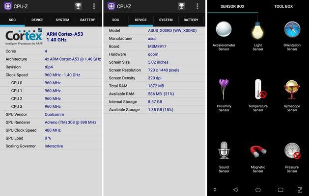 ASUS Zenfone Live L1 CPUZ