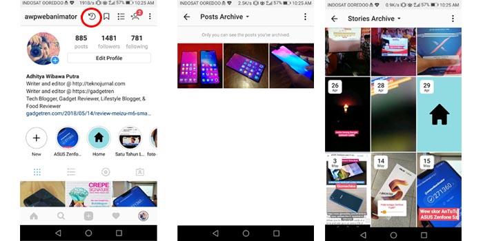 Langkah melihat foto yang diarsipkan di instagram