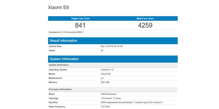 Xiaomi E6 Geekbench