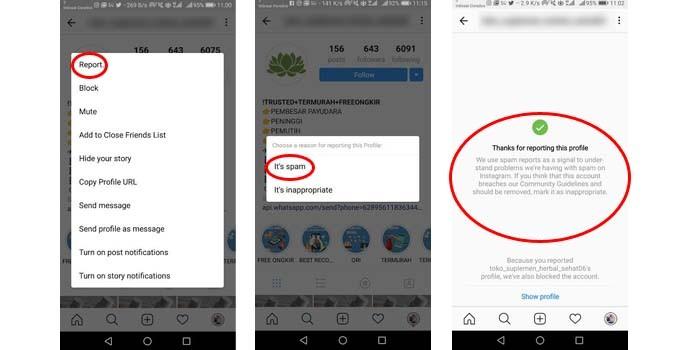 Instagram Report Spam