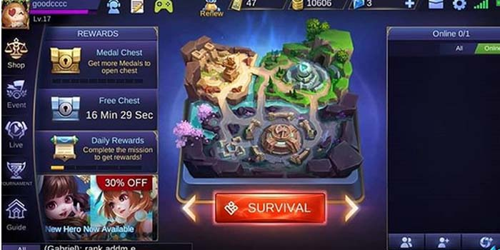Mode Survival Mobile Legends Menu