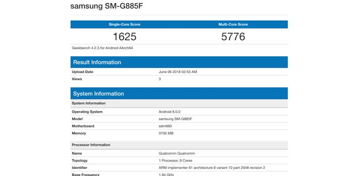 Samsung Galaxy A9 Star Geekbench