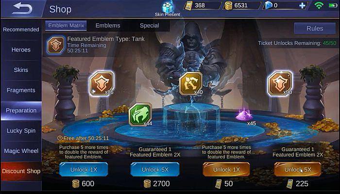 Emblem Matrix Mobile Legends Hadiah