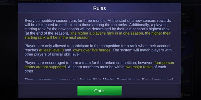 Ranked Match Rules