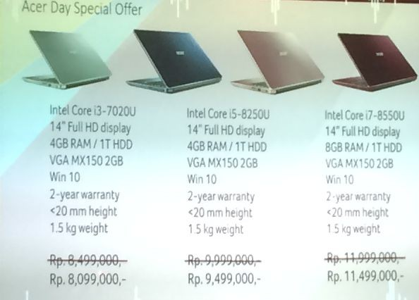 Swift 3 Acer Day Edition Harga