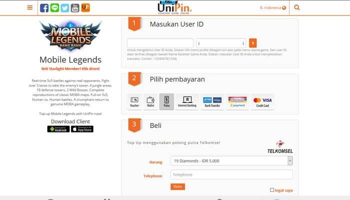 Cara Top Up Mobile Legends Di Unipin Untuk Beli Diamond Gadgetren