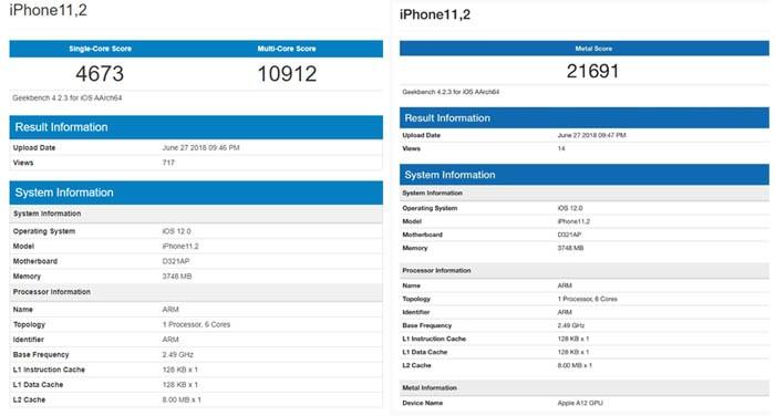 iPhone X Geekbench