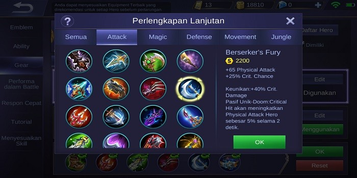Build Alucard Mobile Legends - Berserker's Fury