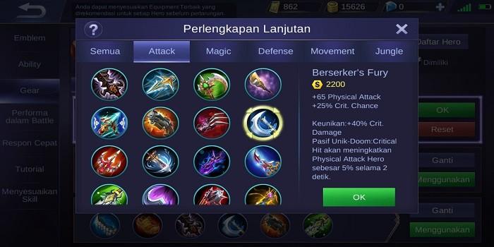 Build Claude Mobile Legends - Berserker's Fury