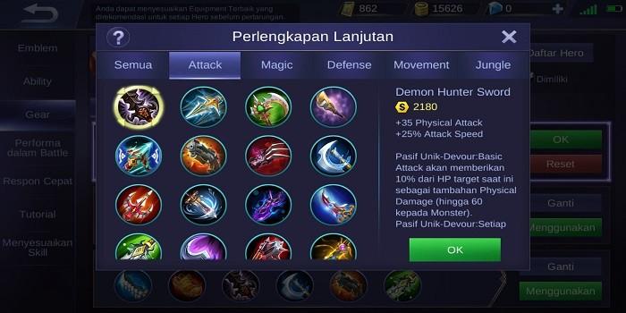 Build Claude Mobile Legends - Demon Hunter Sword