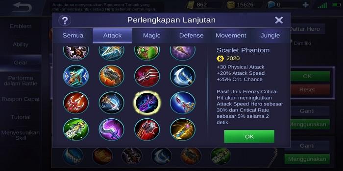 Build Claude Mobile Legends - Scarlet Phantom