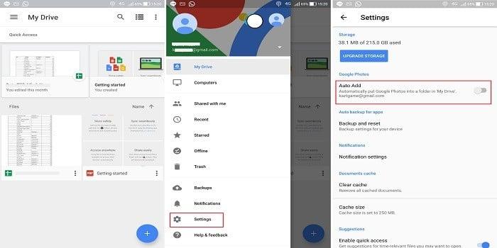 Cara Menyimpan Foto di Google Drive - Setting Google Drive