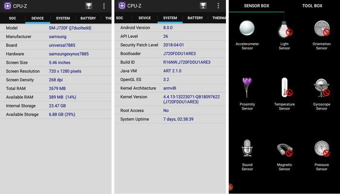 Samsung Galaxy J7 Duo CPUZ