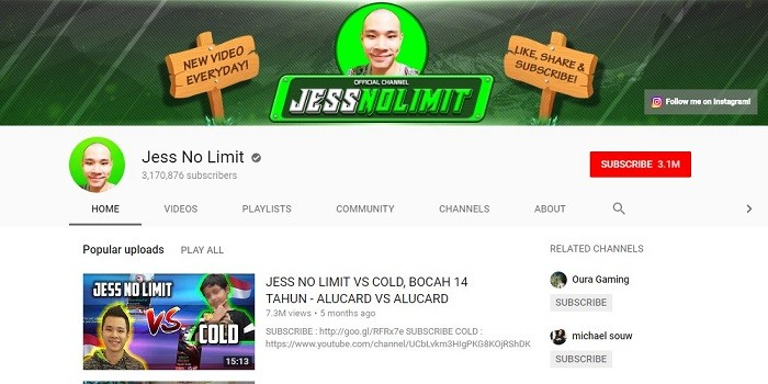 Top Streamer Mobile Legends Jago - Jess No Limit