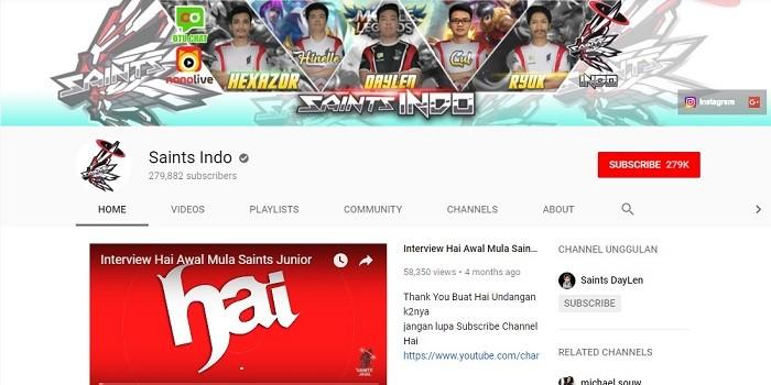 Top Streamer Mobile Legends Jago - Saints Indo