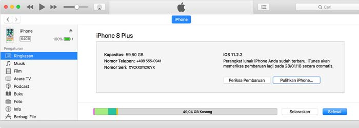 iPhone Reset iTunes