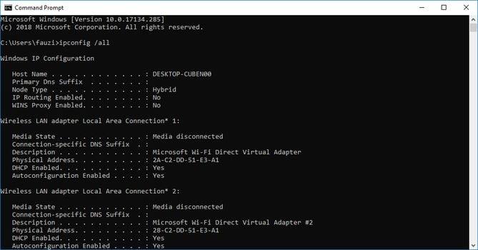 MAC Address Command Prompt