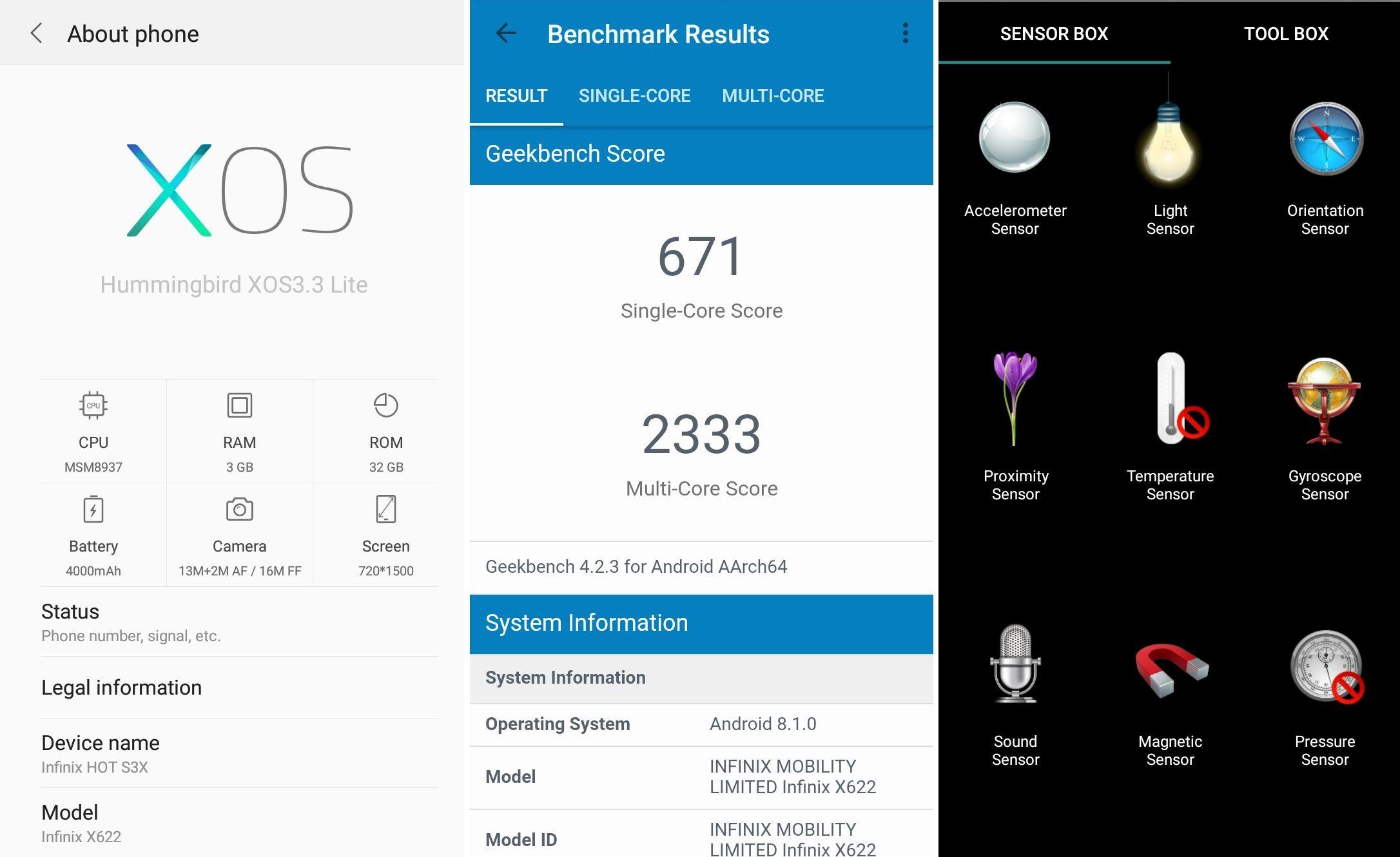 Review Infinix Hot S3X Geekbench