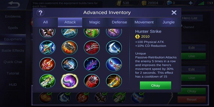 Build Lesley Tersakit - Hunter Strike