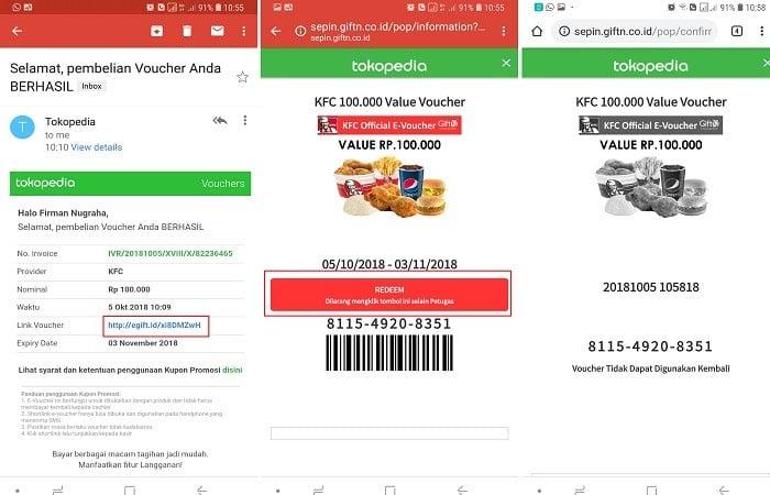 Cara Menggunakan E-Voucher KFC Tokopedia