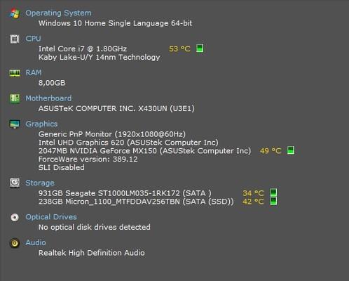 ASUS VivoBook S14 S430UN Speccy