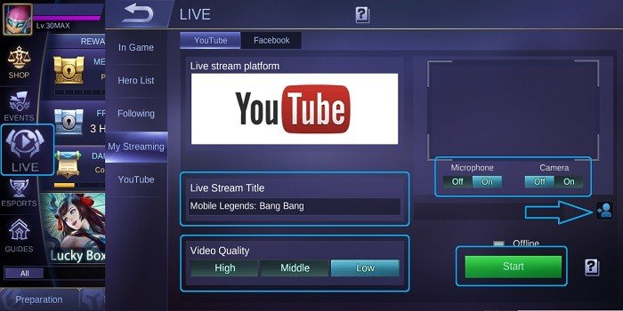 Cara Live Streaming Mobile Legends di YouTube