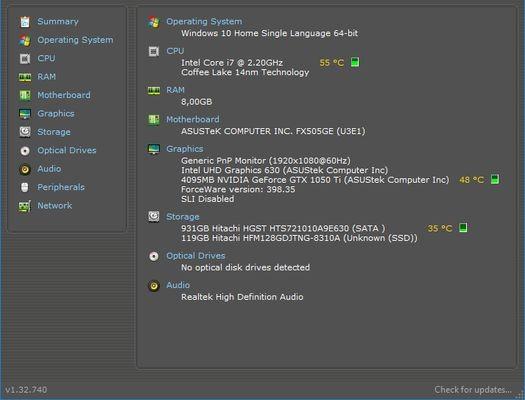 ASUS TUF Gaming FX505 Spek