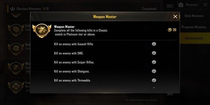 Cara Mendapatkan Title di PUBG Mobile Weapon Master