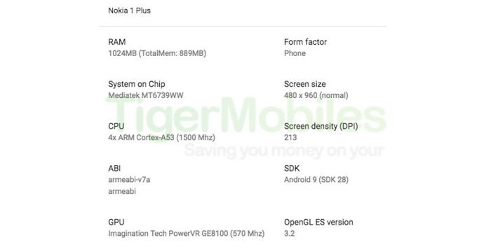 Nokia 1 Plus spek leak