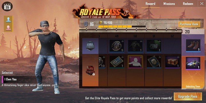 Emoticon di PUBG Mobile Royale Pass