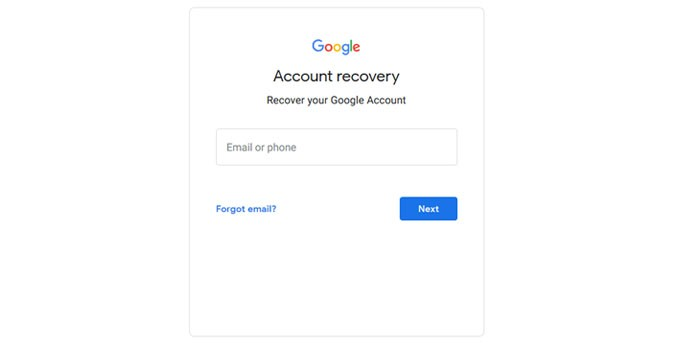 Halaman Google Recovery