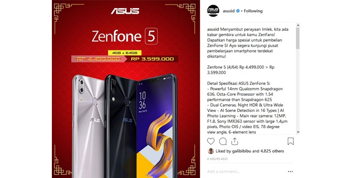 Zenfone 5 turun harga Imlek