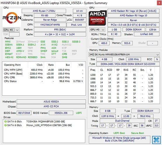 ASUS VivoBook X505ZA HWiNFO
