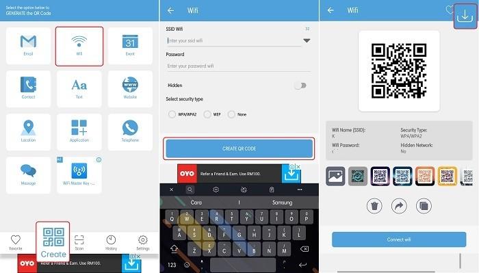 Cara Scan Barcode Wifi di OPPO - Membuat