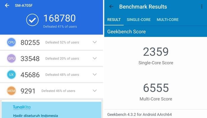 Samsung Galaxy A70 AnTuTu Geekbench
