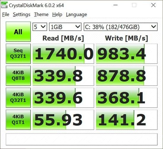 ASUS VivoBook A412 Crystal Disk Mark