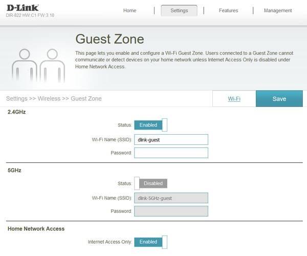 D-Link DIR-822 Guest Zone