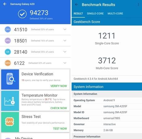 Review Samsung Galaxy A20 Skor AnTuTu Geekbench