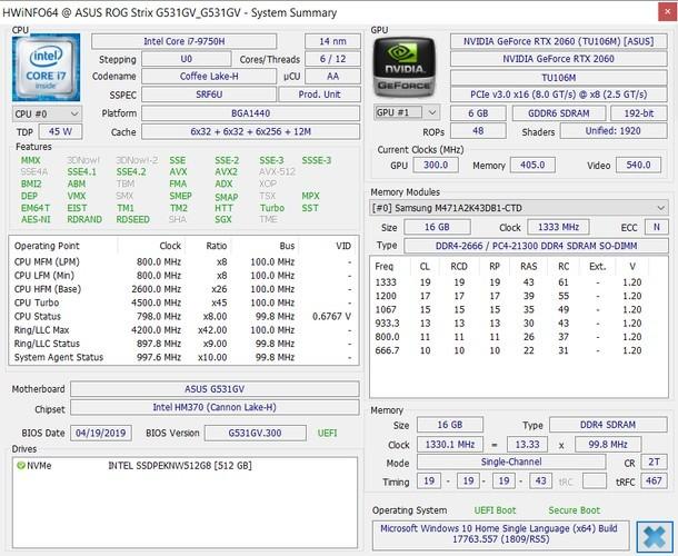 ASUS ROG Strix III G531GV HWiNFO