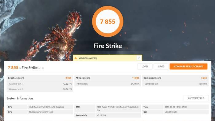 ASUS TUF Gaming FX505DT FireStrike