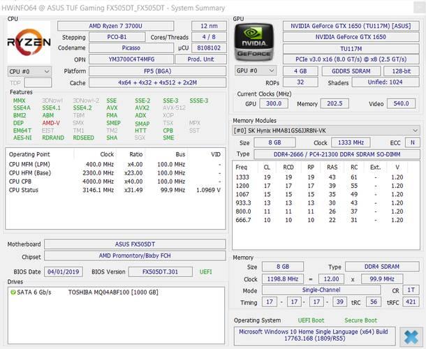 ASUS TUF Gaming FX505DT Spesifikasi HWiNFO