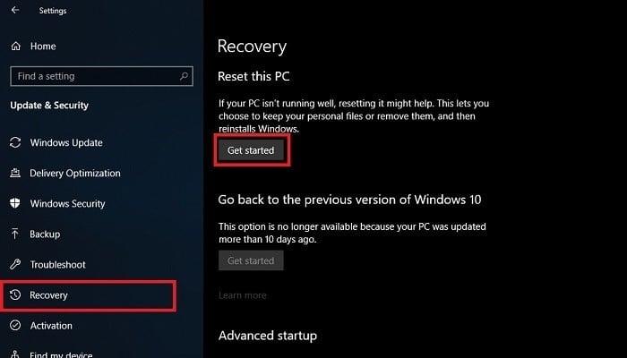 Cara Reset Laptop Windows 10