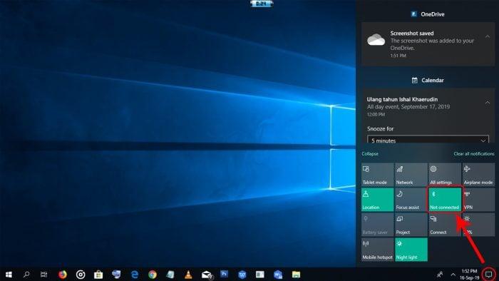Pengaturan Bluetooth di Quick Setting Windows 10