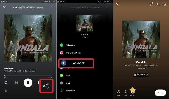 Cara Share Spotify ke Facebook Story