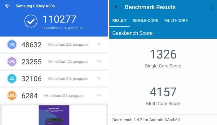 Samsung Galaxy A30s Skor AnTuTu Geekbench