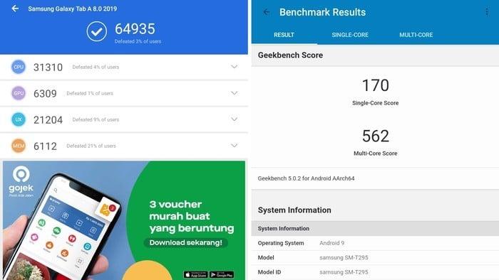 Samsung Galaxy Tab A (8.0) 2019 Benchmark
