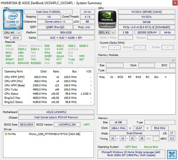 Review ASUS ZenBook 13 UX334FL HWiNFOs
